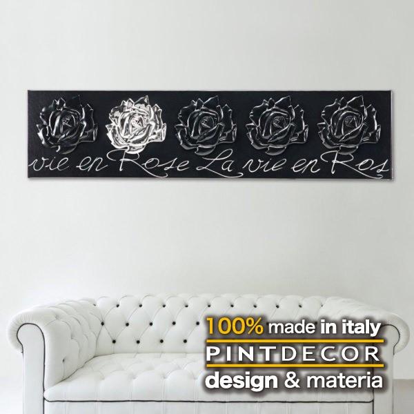 アートパネル PINTDECOR LA VIE EN ROSE P3270 ピントデコール イタリア モダンアート リビング ダイナミック デコラティブ ミックステクスチャー 立体 ハンドメイド オブジェ ホテルライク 薔薇 バラ 絵画 新居 近代アート モダン