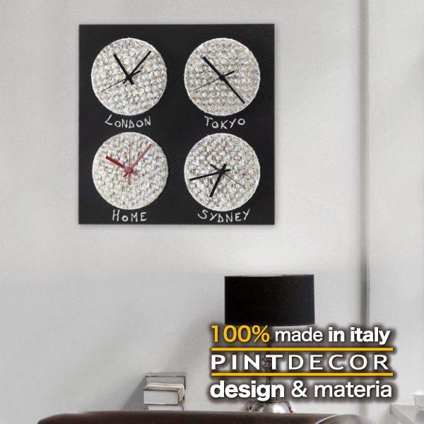 ウォールクロック|PINTDECOR CRONO P3632 ピントデコール イタリア モダンアート リビング ダイナミック デコラティブ ミックステクスチャー 立体 ハンドメイド オブジェ ホテルライク 壁掛け時計 世界 新居 近代的 モダン シルバー メタリック キラキラ