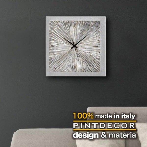ウォールクロック|PINTDECOR FOSSILE P3636 ピントデコール イタリア モダンアート リビング ダイナミック デコラティブ ミックステクスチャー 立体 ハンドメイド オブジェ ホテルライク 壁掛け時計 新居 近代的 モダン アート シルバー メタリック