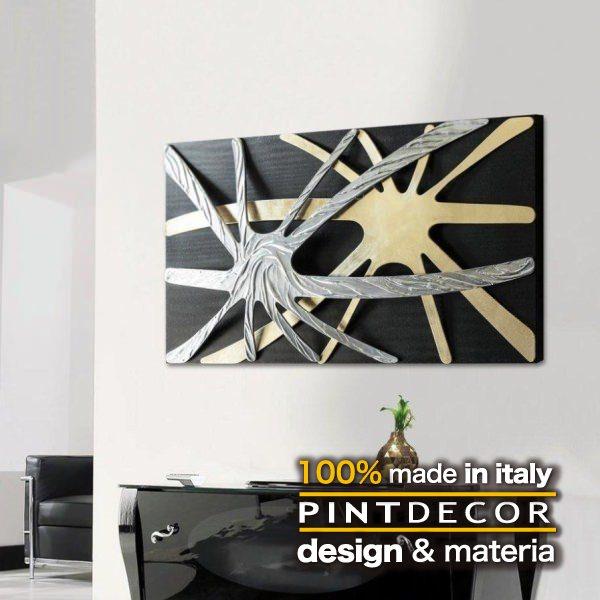 アートパネル|PINTDECOR SPIDER P3984 ピントデコール イタリア モダンアート リビング ダイナミック デコラティブ ミックステクスチャー 立体 ハンドメイド オブジェ ホテルライク 黒 シルバー ゴールド ブラック