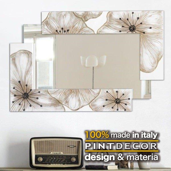 ウォールミラー|PINTDECOR PETUNIA P4018 ピントデコール イタリア モダンアート リビング ダイナミック デコラティブ ミックステクスチャー 立体 ハンドメイド オブジェ ホテルライク 壁掛けミラー 鏡 花 ボタニカル 新居 モダン