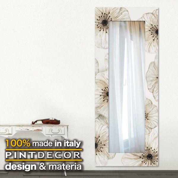 ウォールミラー|PINTDECOR PETUNIA P4068 ピントデコール イタリア モダンアート リビング ダイナミック デコラティブ ミックステクスチャー 立体 ハンドメイド オブジェ ホテルライク 壁掛けミラー 鏡 花 ボタニカル 新居 モダン
