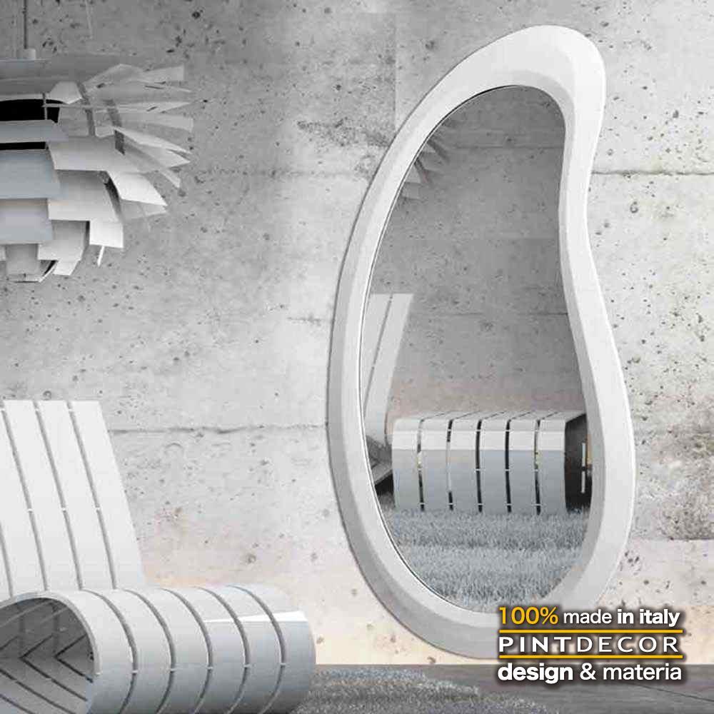 ウォールミラー|PINTDECOR ATOLLO BIANCO P4256 ピントデコール イタリア モダンアート リビング ダイナミック デコラティブ ミックステクスチャー 立体 ハンドメイド オブジェ ホテルライク 壁掛けミラー 鏡 新居 ホワイト シンプル