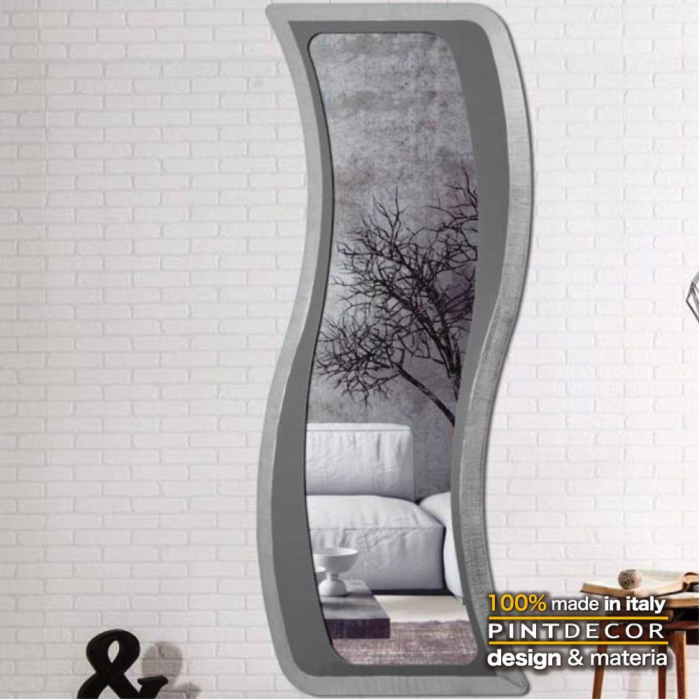 ウォールミラー|PINTDECOR CLEO P4270 ピントデコール イタリア モダンアート リビング ダイナミック デコラティブ ミックステクスチャー 立体 ハンドメイド オブジェ ホテルライク 壁掛けミラー 鏡 新居 シルバー メタリック スタイリッシュ