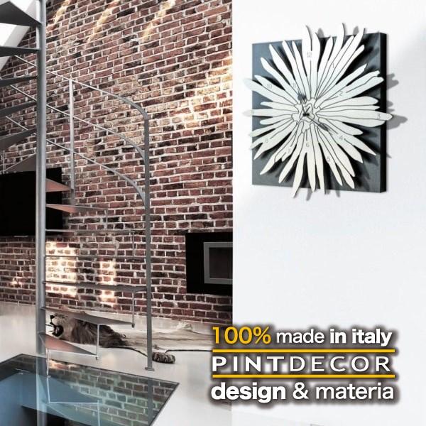 ウォールクロック|PINTDECOR POLINESIA P4344 ピントデコール イタリア モダンアート リビング ダイナミック デコラティブ ミックステクスチャー 立体 ハンドメイド オブジェ ホテルライク 壁掛け時計 花 新居 近代的 モダン