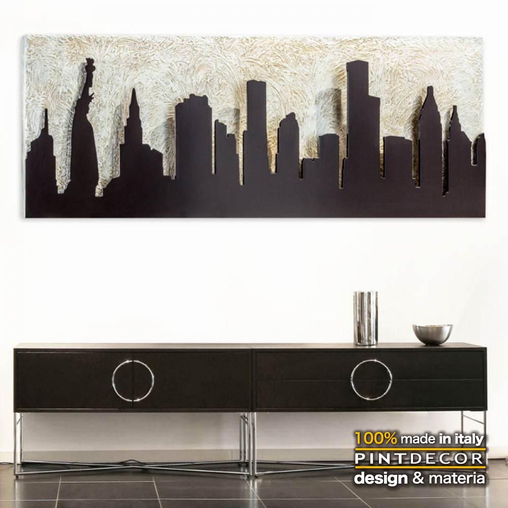 アートパネル|PINTDECOR MANHATTAN P4420 ピントデコール イタリア モダンアート リビング ダイナミック デコラティブ ミックステクスチャー 立体 ハンドメイド オブジェ ホテルライク 絵画 新居 近代アート マンハッタン 都会 都市