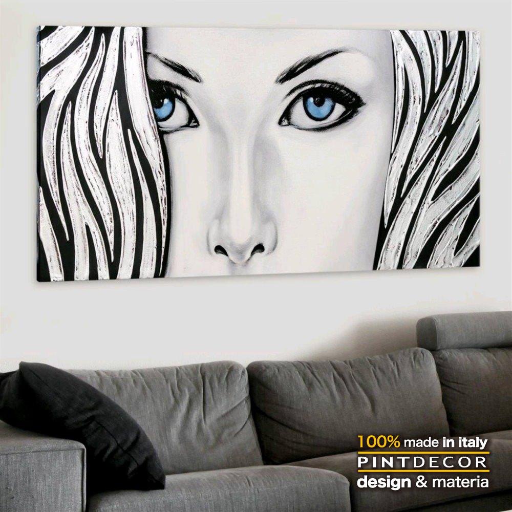 アートパネル|PINTDECOR SILVER LADY P4426 ピントデコール イタリア モダンアート リビング ダイナミック デコラティブ ミックステクスチャー 立体 ハンドメイド オブジェ ホテルライク 絵画 新居 近代アート シルバー 女性画
