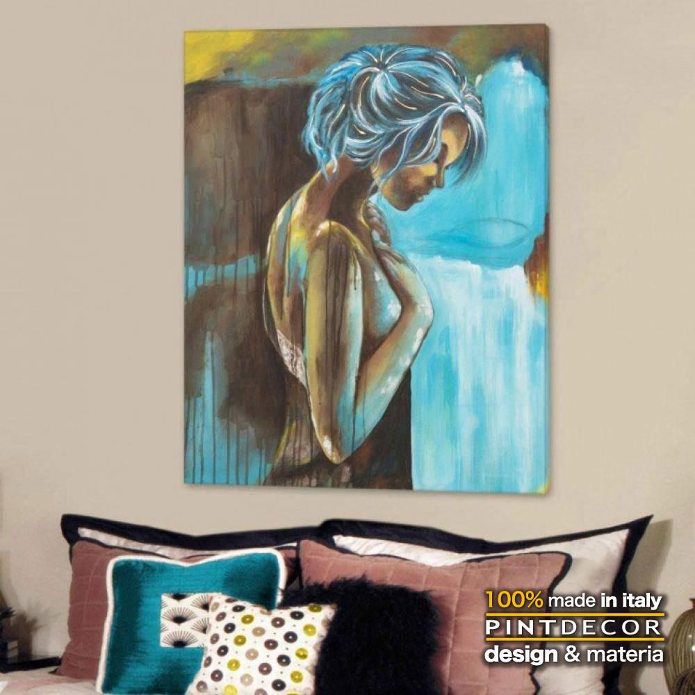 アートパネル PINTDECOR DOLCE PENSIERO P4442 ピントデコール イタリア モダンアート リビング ダイナミック デコラティブ ミックステクスチャー 立体 ハンドメイド オブジェ ホテルライク 絵画 新居 近代アート 女性画 ブルー