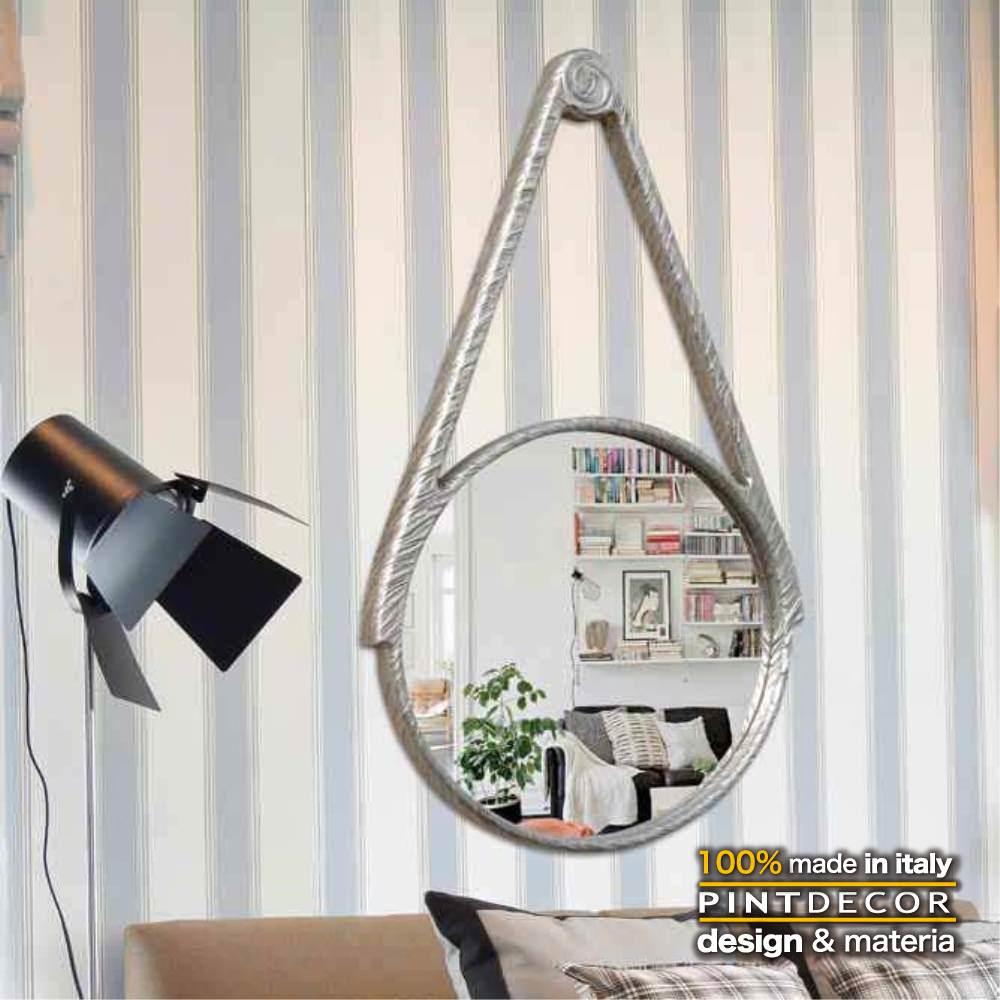 ウォールミラー|PINTDECOR COUNTRY P4456 ピントデコール イタリア モダンアート リビング ダイナミック デコラティブ ミックステクスチャー 立体 ハンドメイド オブジェ ホテルライク 壁掛けミラー 鏡 新居 シルバー シンプル