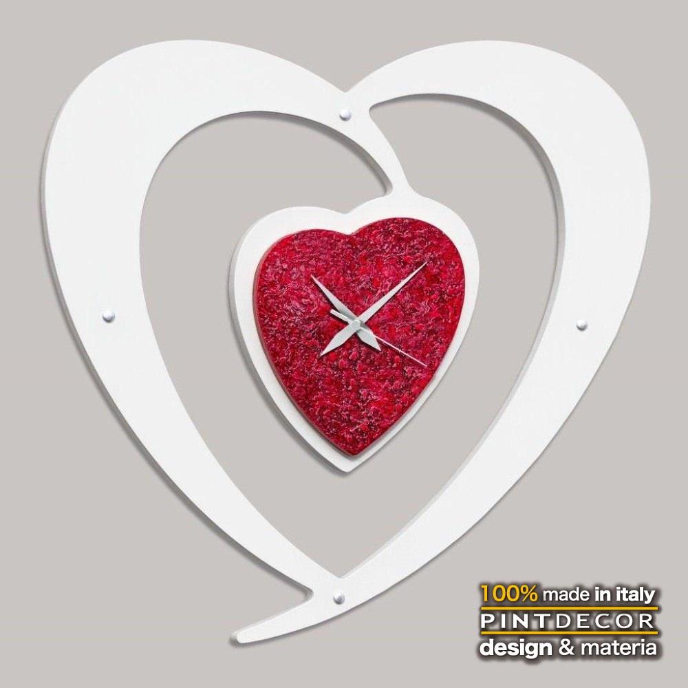 ウォールクロック|PINTDECOR CUORE ROSSO P4470 ピントデコール イタリア モダンアート リビング ダイナミック デコラティブ ミックステクスチャー 立体 ハンドメイド オブジェ ホテルライク 壁掛け時計 ロマンティック ハート ホワイト 赤