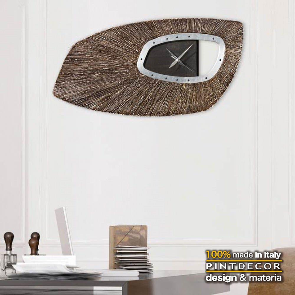 ウォールクロック|PINTDECOR SHIELD P4584 ピントデコール イタリア モダンアート リビング ダイナミック デコラティブ ミックステクスチャー 立体 ハンドメイド オブジェ ホテルライク 壁掛け時計 盾 シールド ウッド ブラウン