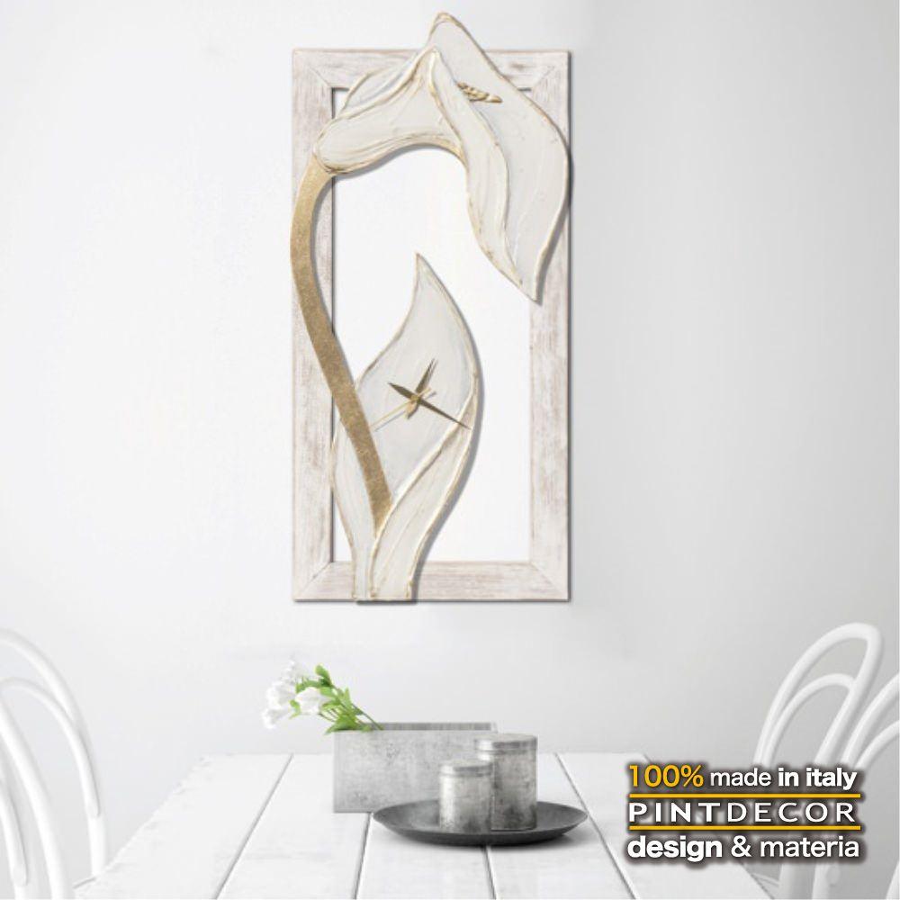 ウォールクロック|PINTDECOR LE TEMPS DE PROVENCE P4594 ピントデコール イタリア モダンアート リビング ダイナミック デコラティブ ミックステクスチャー 立体 ハンドメイド オブジェ ホテルライク 壁掛け時計 カラー 純白 花