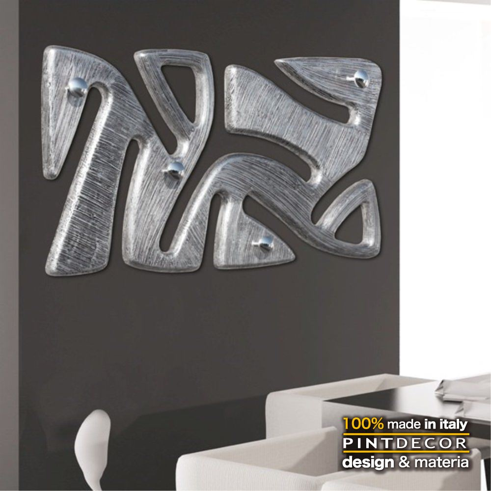 ハンガーラック|PINTDECOR TRIBAL P4604 ピントデコール イタリア モダンアート リビング ダイナミック デコラティブ ミックステクスチャー 立体 ハンドメイド オブジェ ホテルライク 壁付け コートスタンド モダン 新居 抽象画 メタリック