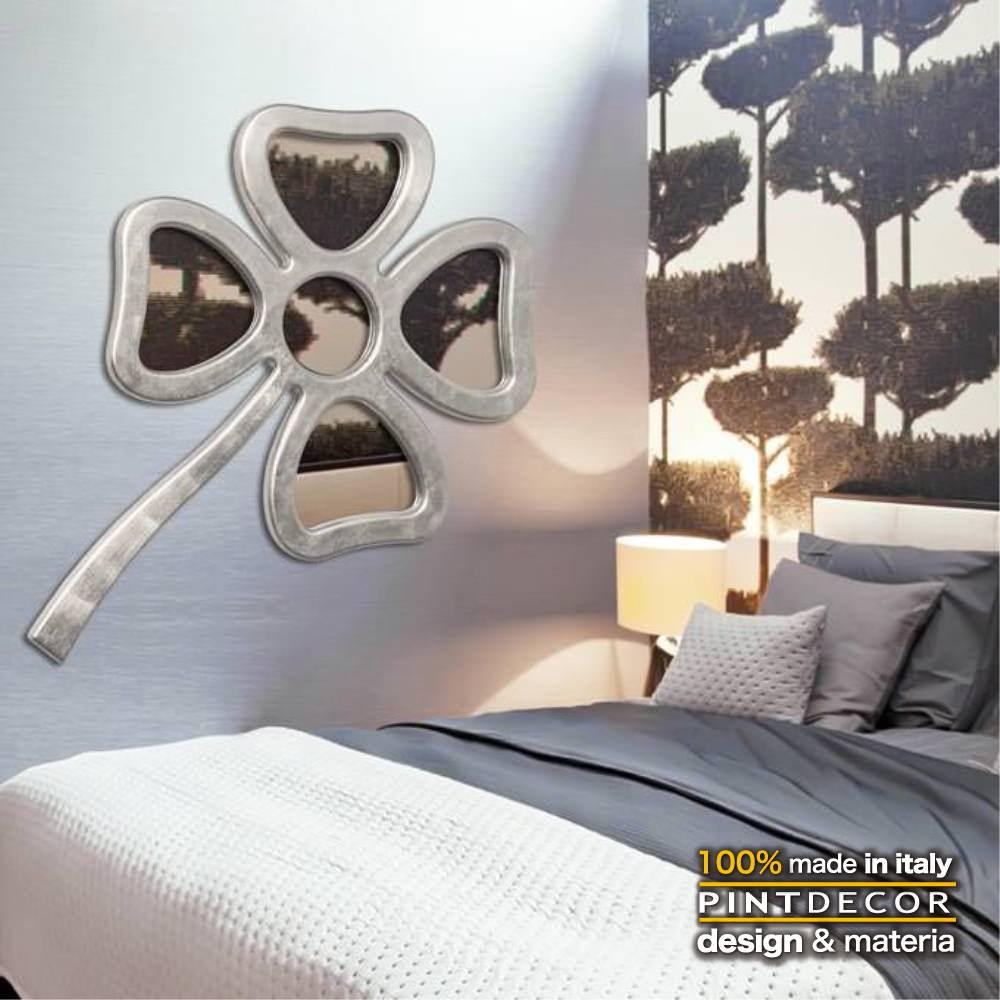ウォールミラー|PINTDECOR LUCKY P4612 ピントデコール イタリア モダンアート リビング ダイナミック デコラティブ ミックステクスチャー 立体 ハンドメイド オブジェ ホテルライク 壁掛けミラー 鏡 エッチング 新居 四つ葉のクローバー ラッキー 幸運