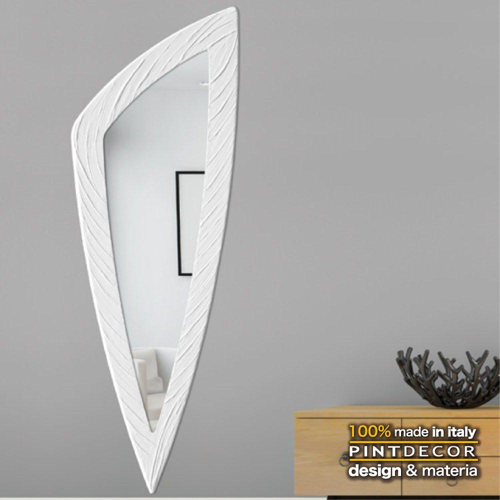ウォールミラー|PINTDECOR SELCE P4714 ピントデコール イタリア モダンアート リビング ダイナミック デコラティブ ミックステクスチャー 立体 ハンドメイド オブジェ ホテルライク 壁掛けミラー 鏡 新居 ホワイト スタイリッシュ
