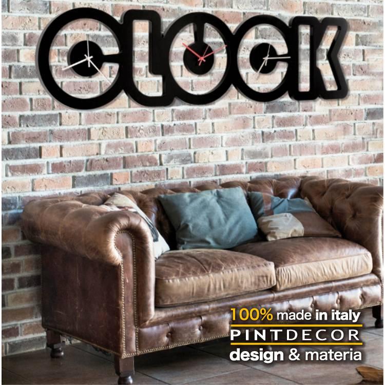 ウォールクロック|PINTDECOR BLACK CLOCK P4792 ピントデコール イタリア モダンアート リビング ダイナミック デコラティブ ミックステクスチャー 立体 ハンドメイド オブジェ ホテルライク 新居