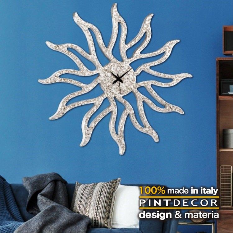 ウォールクロック|PINTDECOR SUNNY SILVER P4804 ピントデコール イタリア モダンアート リビング ダイナミック デコラティブ ミックステクスチャー 立体 ハンドメイド オブジェ ホテルライク 新居