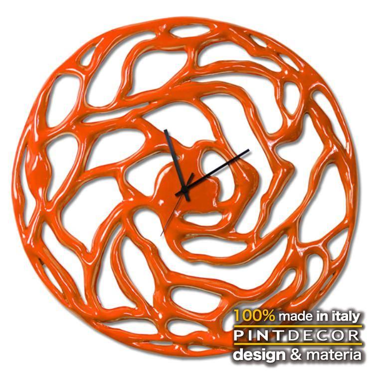 ウォールクロック|PINTDECOR FUZZY ARANCIO P5068 ピントデコール イタリア 時計 リビング ダイナミック デコラティブ ミックステクスチャー 立体 ハンドメイド オブジェ ホテルライク 新居
