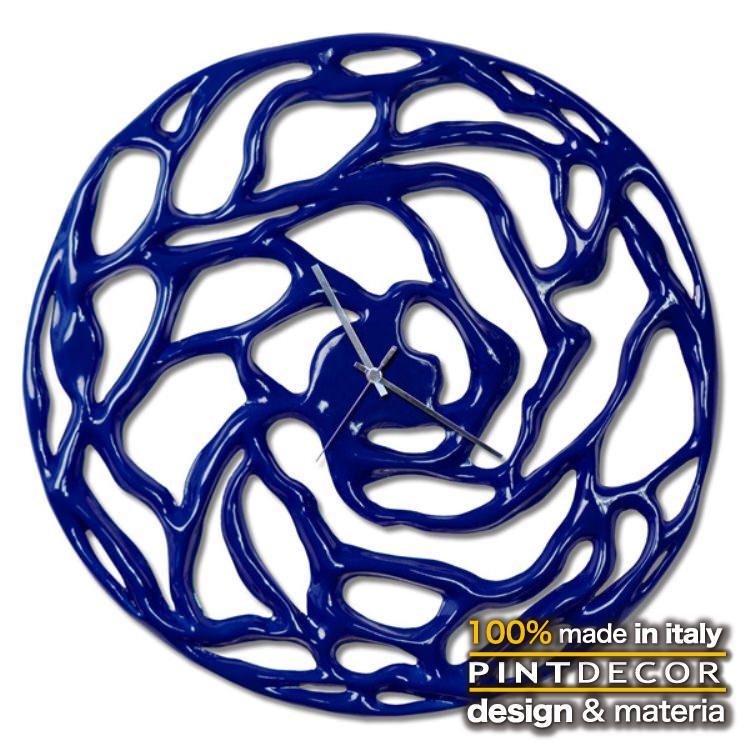 ウォールクロック|PINTDECOR FUZZY BLU P5070 ピントデコール イタリア 時計 リビング ダイナミック デコラティブ ミックステクスチャー 立体 ハンドメイド オブジェ ホテルライク 新居