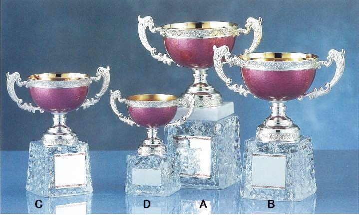 優勝カップ【文字無料】ガラス台「桜色」のカップ GA334-Cサイズ●高さ165mm