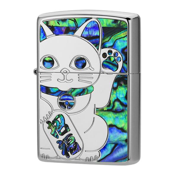ZIPPO シェルラッキーキャットSV Shell lucky-cat sv 1201S685 ダイアノシルバー仕上げ 両面加工 ジッポー