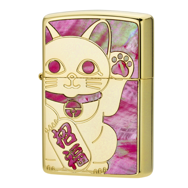 ZIPPO シェルラッキーキャットYGD Shell lucky-cat ygd 1201S688 イエローゴールド仕上げ 両面加工 ジッポー