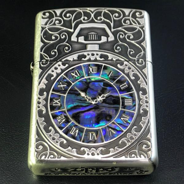 ZIPPO アーマー シェルウオッチinlay Shell watch inlay SV 銀張りいぶし仕上げ 両面加工 ジッポー