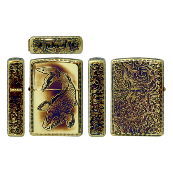 ZIPPO ARMOR 唐草 鯉 五面加工 Etching Router アーマー ジッポー