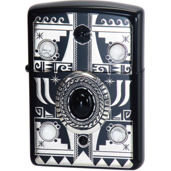 ZIPPO インディアンスピリッツBK-イーグル IndianSpirits・black-Eagle 両面加工 オニキス・ハウライト入りジッポー