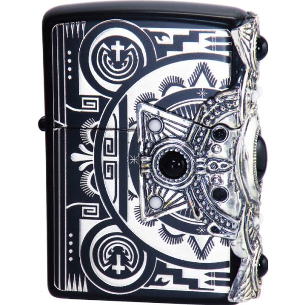 ZIPPO インディアンスピリッツ クロス ブラック 天然石オニキス・ハウライト入り 3面メタル貼り両面加工 ジッポー