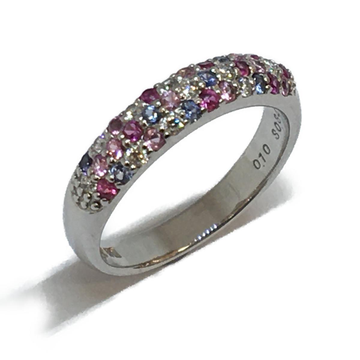 Ponte Vecchio(ポンテヴェキオ)/ダイヤモンド サファイア リング 指輪/リング//K18WG(750)ホワイトゴールド×ダイヤモンド(0.10ct) ×サファイア(0.34ct)/【ランクA】/8号【中古】