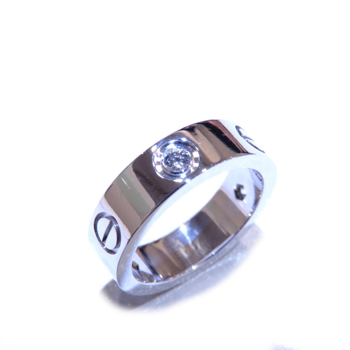 Cartier(カルティエ)/ラブリング ハーフダイヤ 指輪/リング//K18WG(750)ホワイトゴールド×ダイヤモンド/【ランクA】/#51/11号【中古】