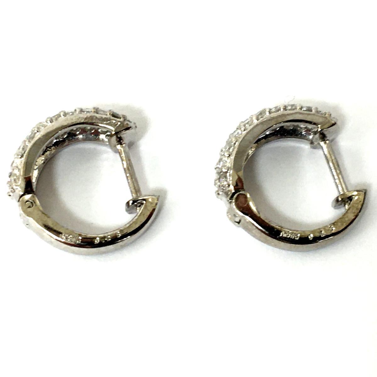 JEWELRY ジュエリージュエリー ダイヤモンド フープピアス ピアス 白系 K18WG 750 ホワイトゴールド×ダイヤモンド 0 25ct×2ランクAH2IYEDW9