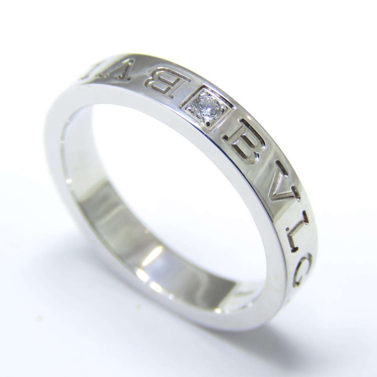 BVLGARI(ブルガリ)/ダブルロゴリング1PD リング 指輪/リング//K18WG(750)ホワイトゴールド/【ランクA】(#18.5号/8.1g)/18.5号【中古】
