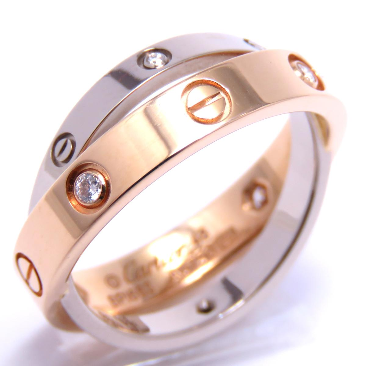 Cartier(カルティエ)/ビーラブリング 6Pダイヤ 指輪 リング/リング//K18PG(750)ピンクゴールド×K18WG(750)ホワイトゴールド/【ランクA】/#48/8.5号【中古】