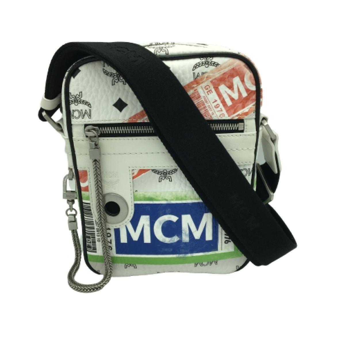 MCM(エムシーエム)/ショルダーバッグ フライトプリント/ウエストバッグ/白系/レザー/【ランクB】【中古】