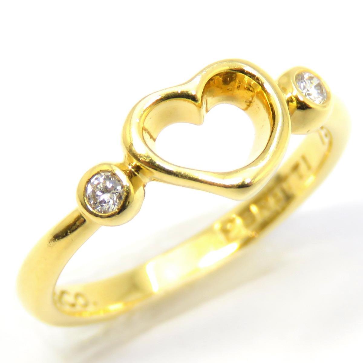 TIFFANY&CO(ティファニー)/オープンハートリング 2Pダイヤ 指輪/リング//K18YG(750)イエローゴールド×ダイヤモンド/【ランクA】/9号【中古】