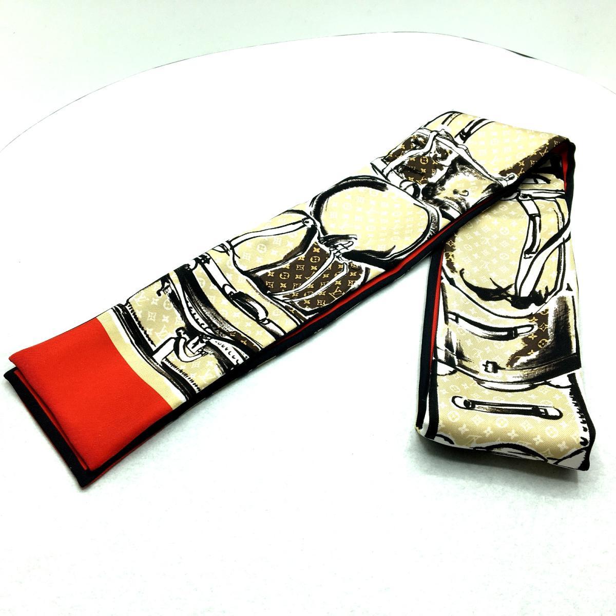 【特価商品】LOUIS VUITTON(ルイ・ヴィトン)/バンドー スカーフ レディース/スカーフ/赤系/レッド系×ベージュ系/シルク/【ランクA】(M73964)【中古】ルイヴィトン