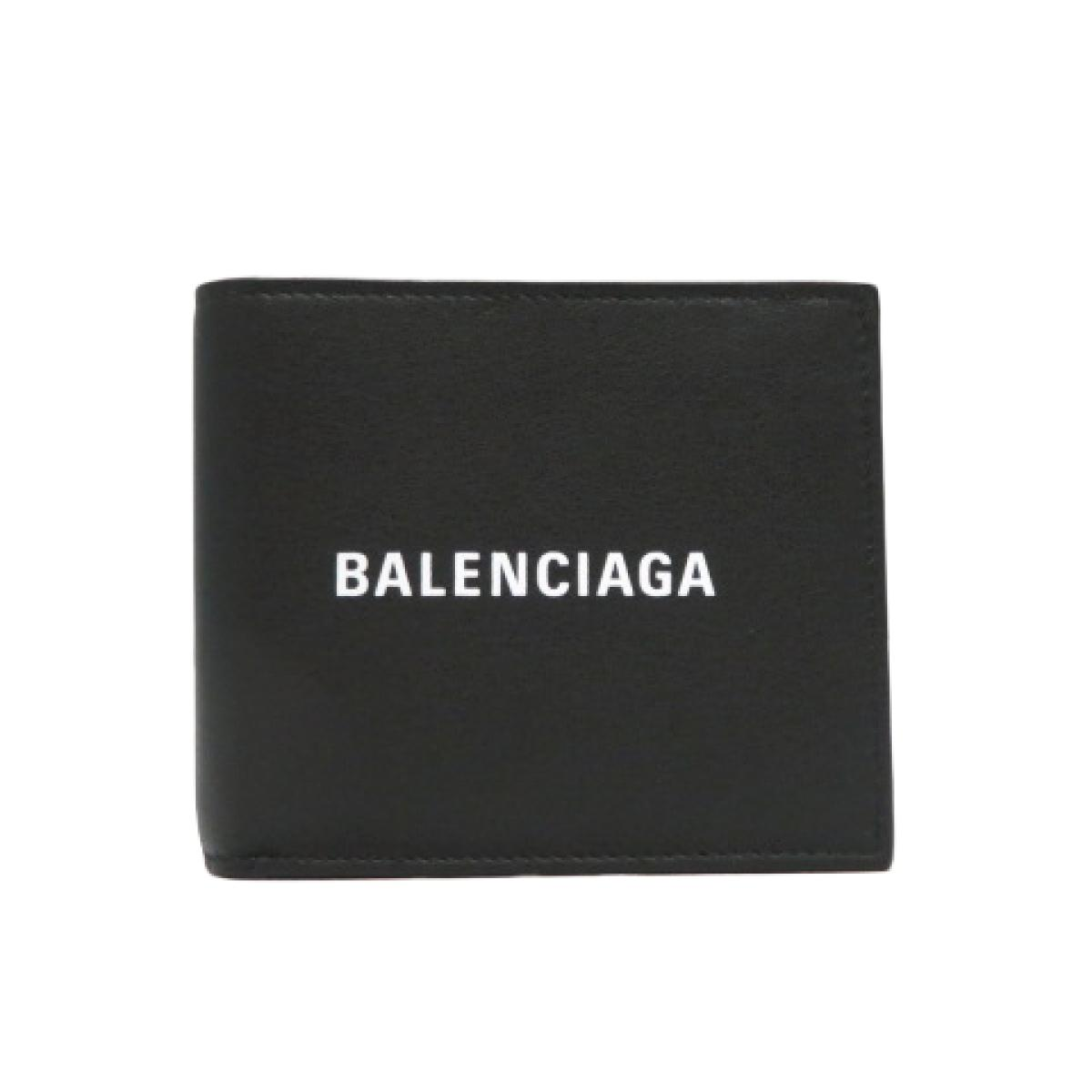 BALENCIAGA(バレンシアガ)/二つ折札入れ 財布 メンズ レディース/財布/黒系/ブラック系/牛革(カーフ)/【ランクS】(485108)【中古】