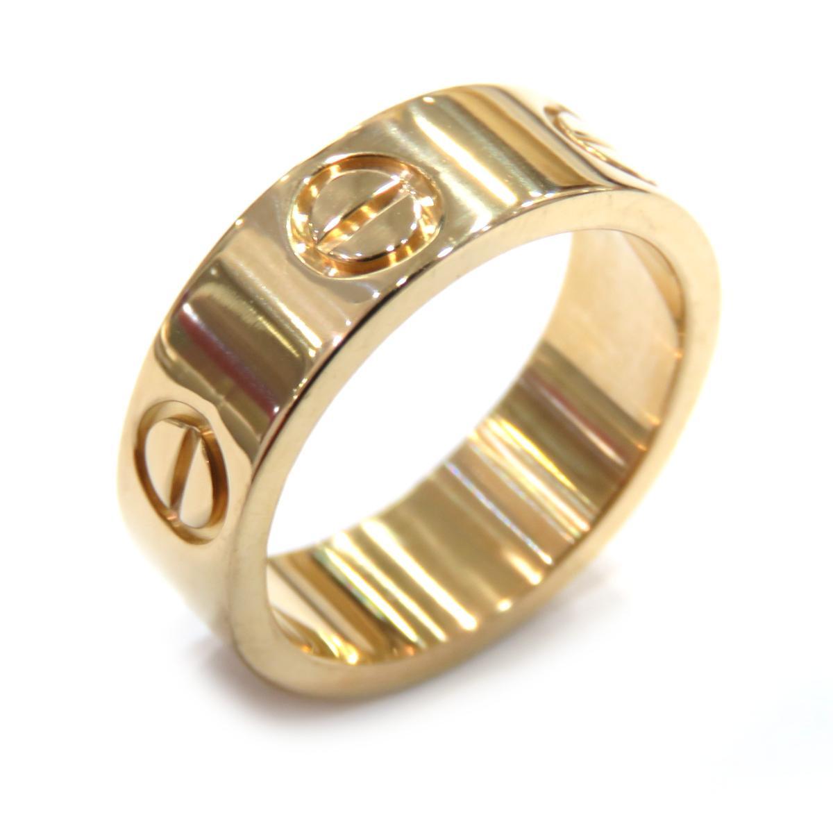 Cartier ラブリング 指輪 レディース ランクA 送料無料 プレゼント ギフト 交換無料 ラッピング無料 リング 流行 K18YG カルティエ 750 イエローゴールド 7号 #47 中古 全品鑑定済
