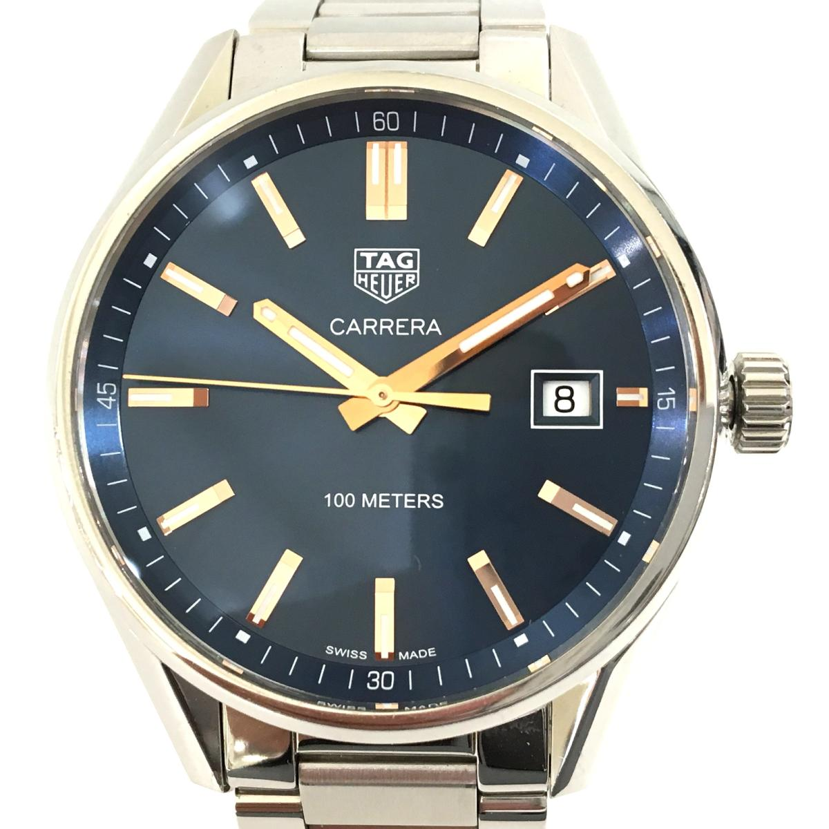 TAG HEUER カレラQZ 腕時計 ウォッチ メンズ ランクA 送料無料 プレゼント 贈答 ギフト ラッピング無料 タグホイヤー ホイヤー クオーツ 驚きの値段 全品鑑定済 中古 青系 ステンレススチール タグ SS WAR1112