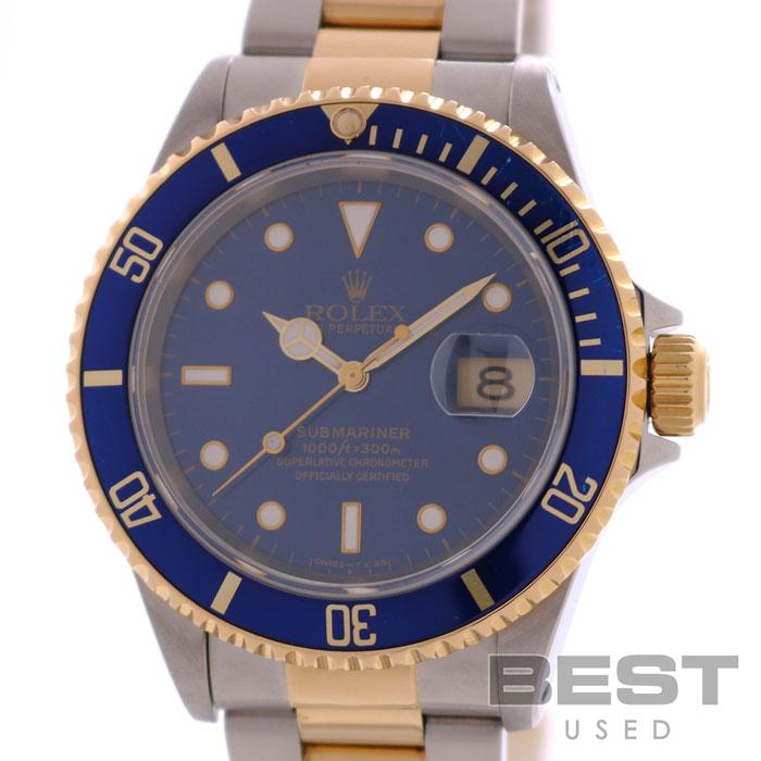ロレックス 【ROLEX】 サブマリーナ デイト 16613 メンズ ブルー K18イエローゴールド/ステンレススティール 腕時計 時計 SUBMARINER DATE BLUE K18YG/SS 【中古】