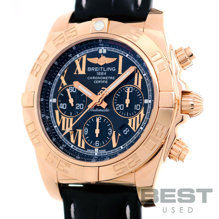 ブライトリング 【BREITLING】 クロノマット44 HB0110 (H011B57WBA) メンズ ブラック/グレー K18ローズゴールド 腕時計 時計 CHRONOMAT44 BLACK/GRAY K18RG ピンクゴールド K18PG【中古】