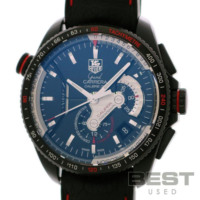 タグホイヤー 【TAG HEUER】 グランドカレラ CAV5185.FC6237 メンズ ブラック チタン 腕時計 時計 GRAND CARRERA BLACK TI(PVD) 【中古】