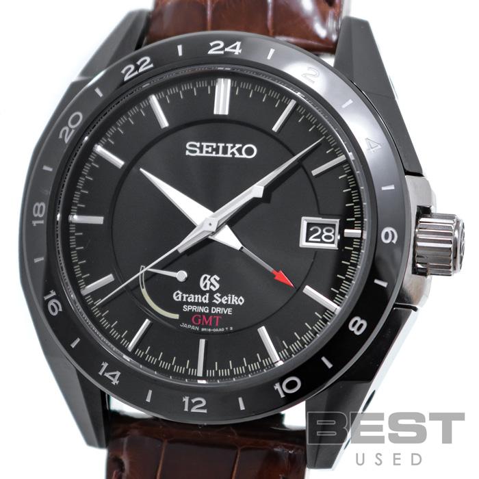 グランドセイコー 【GRAND SEIKO】 ブラックセラミックス リミテッドコレクション スプリングドライブ GMT SBGE037(9R16-0AA0) メンズ ブラック ジルコニア・セラミックス+ブライトチタン 腕時計 時計 SPRING DRIVE GMT BLACK SS GS【中古】