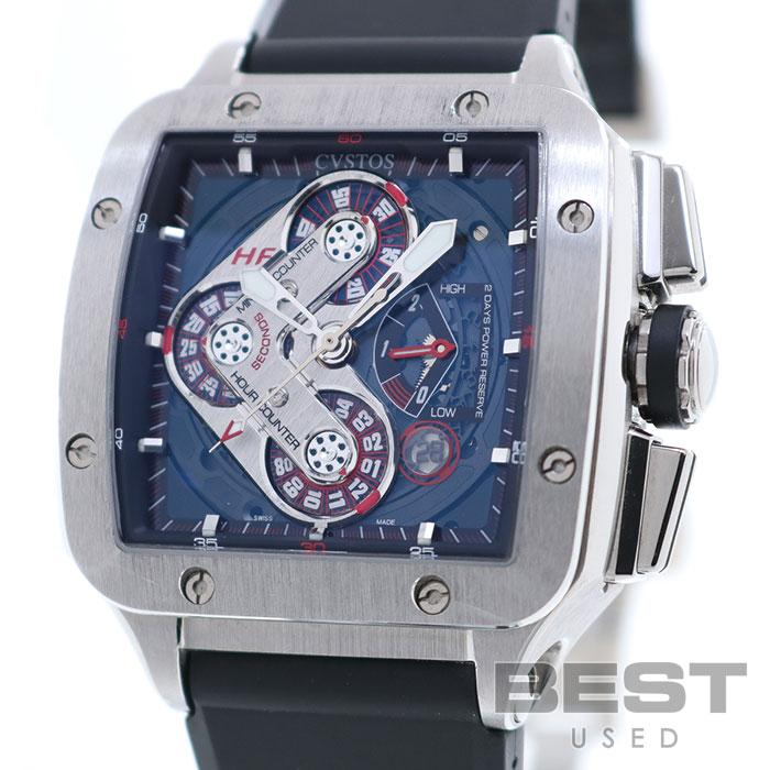 クストス 【CVSTOS】 エヴォスクエア ハイフィディリティCVE45-CHR-HF ST メンズ ブラック ステンレススティール 腕時計 時計 EVOSQUARE HIGH FIDILITY BLACK SS 角型【中古】