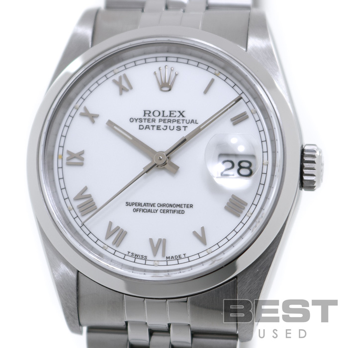 ロレックス 【ROLEX】 オイスターパーペチュアル デイトジャスト 16200 メンズ ホワイト ステンレススティール 腕時計 時計 OYSTER PERPETUAL DATEJUST WHITE SS ホワイトローマン ジュビリーブレス【中古】