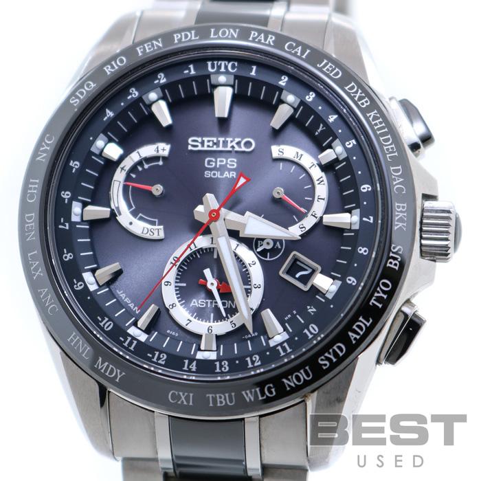 セイコー 【SEIKO】 アストロン デュアルタイム SBXB041(8X5-0AB0-2) メンズ ブラック チタン 腕時計 時計 ASTRON BLACK TI GPS 電波ソーラー【中古】