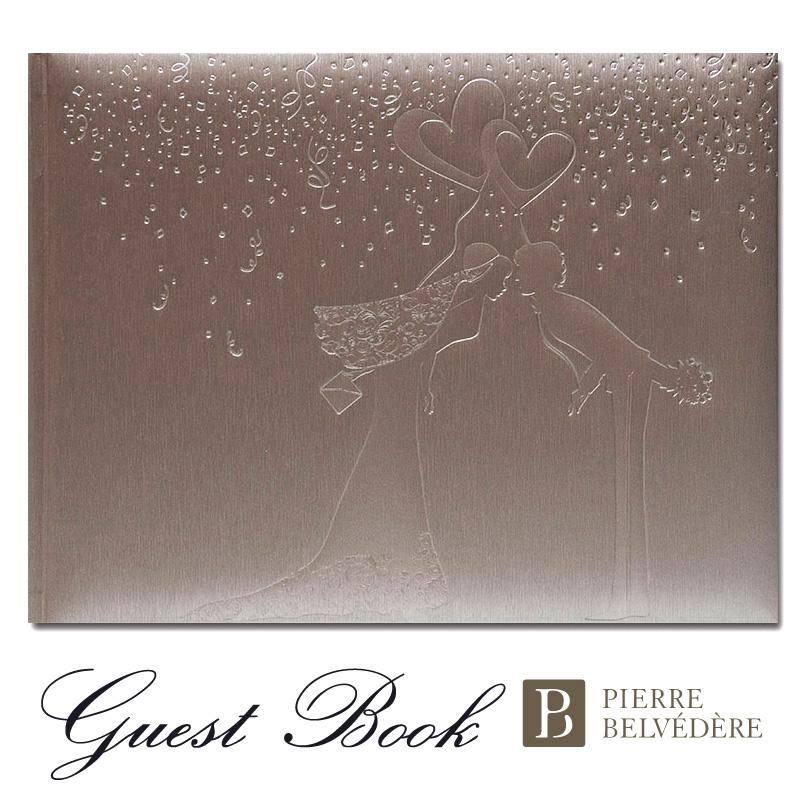 手触りの良いイタリア製PUを使用 2020新作 ゲストブック 結婚式 芳名帳 イタリア製 おしゃれなゲストブック 正規取扱店 ピエール ベルベデーレ Champagne Pierre Kiss Belvedere