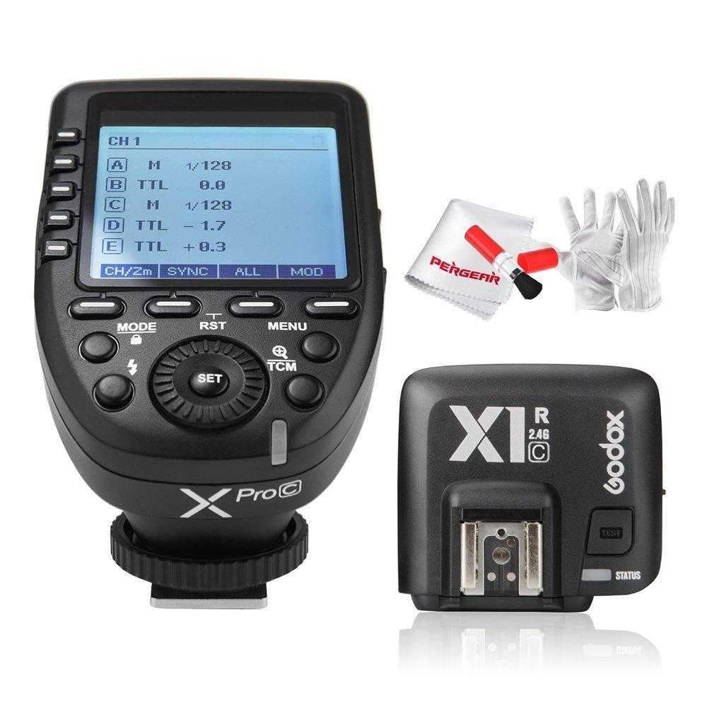 【正規品】GODOX Xpro-C送信機+Godox TTL X1R-C受信機  TTL2.4Gワイヤレスフラッシュトリガー 高速同期 1 / 8000s Xシステム Canon一眼レフカメラ対応 技適マーク付き